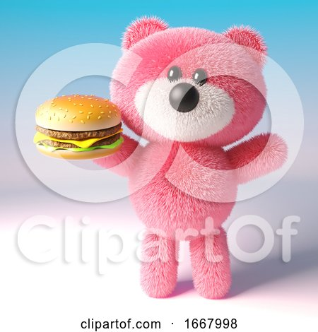 3d Pink Teddy Bear with Fluffy Fur Eating a Cheese Burger Snack, 3d Illustration by Steve Young
