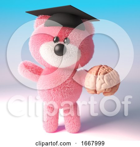 3d Teddy Bear with Pink Fluffy Fur Wearing a Mortar Board and Holding a Human Brain, 3d Illustration by Steve Young