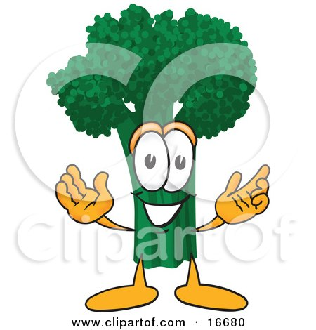 Clipart Picture of a Green Broccoli Food Mascot Cartoon Character With Open Arms by Toons4Biz