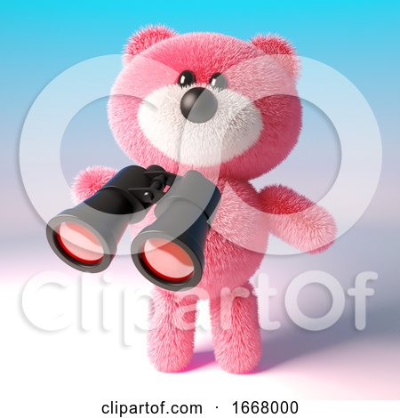 3d Cute Teddy Bear with Pink Fluffy Fur Using a Pair of Binoculars, 3d Illustration by Steve Young