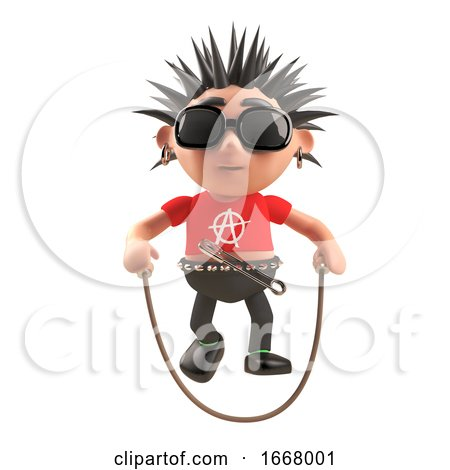 3d Punk Rock Cartoon Character Skipping with a Skipping Rope, 3d Illustration by Steve Young