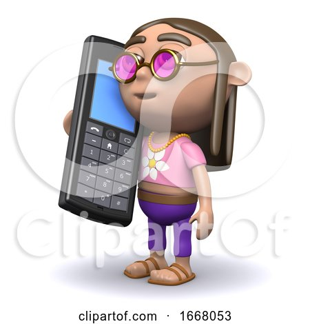 3d Hippy Chats on His Cellphone by Steve Young