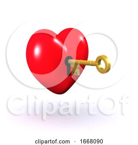 3d Unlocked Heart Posters, Art Prints