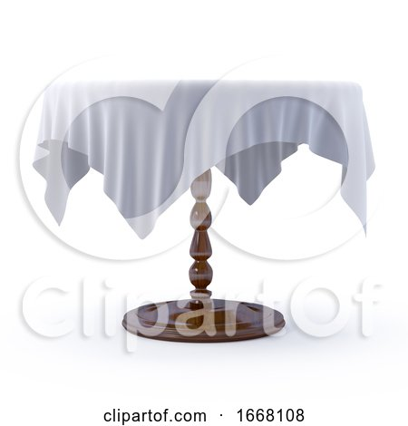 3d Table with White Table Cloth by Steve Young
