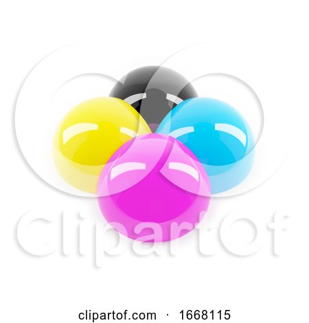 3d Glossy CMYK Colour Balls by Steve Young