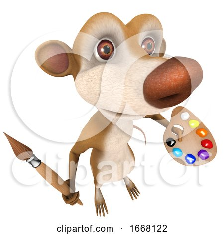 3d Funny Cartoon Rat Char Marsupial Character Painting with a Paintbrush by Steve Young