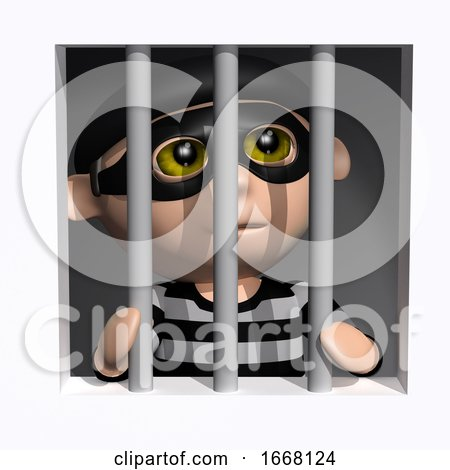 3d Burglar Behind Bars by Steve Young