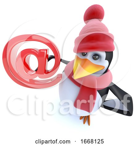 3d Fun Winter Penguin Holding an Email Address Symbol by Steve Young