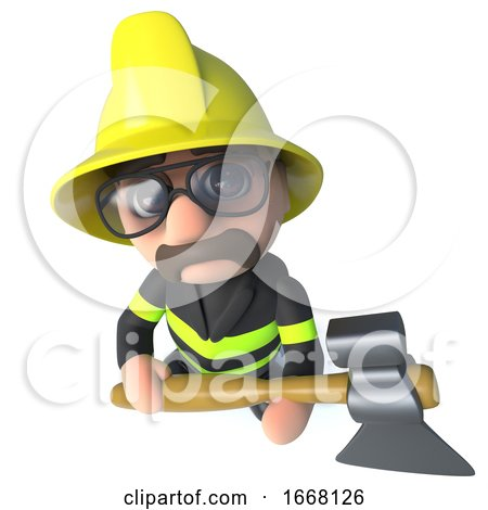 Funny 3d Cartoon Firefighter Fireman Character Holding an Axe by Steve Young