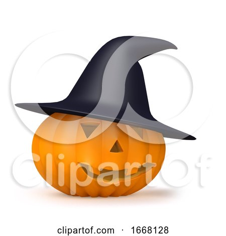 3d Witches Hat on a Halloween Pumpkin by Steve Young