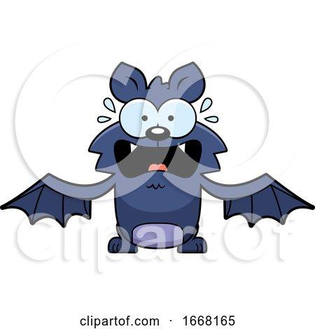 Cartoon Scared Flying Bat by Cory Thoman
