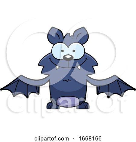 Cartoon Happy Flying Bat by Cory Thoman