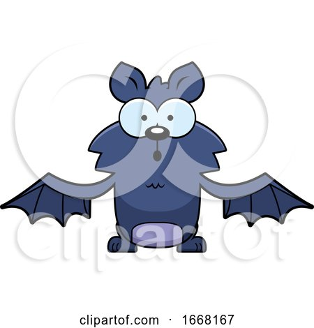 Cartoon Surprised Flying Bat by Cory Thoman