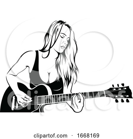 Woman Playing a Guitar by dero