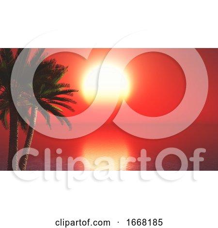 3D Palm Trees Against Sunset Ocean Landscape by KJ Pargeter