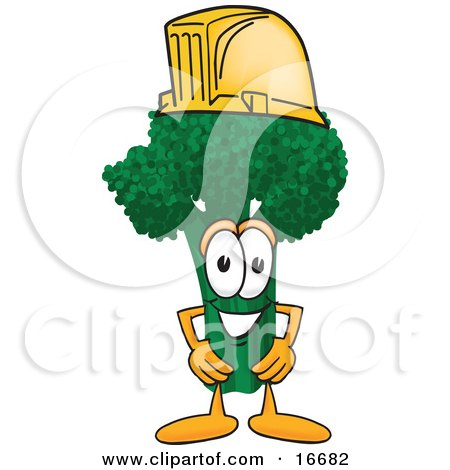 Clipart Picture of a Green Broccoli Food Mascot Cartoon Character Wearing a Yellow Hardhat Helmet by Toons4Biz