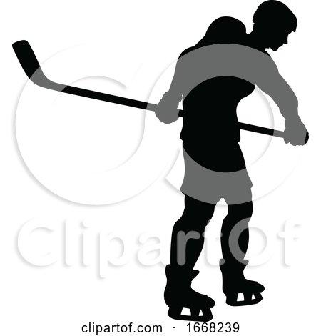 Ice Hockey Sports Player Silhouette by AtStockIllustration