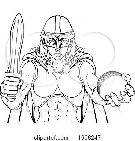 Viking Trojan Celtic Knight Cricket Warrior Woman by AtStockIllustration