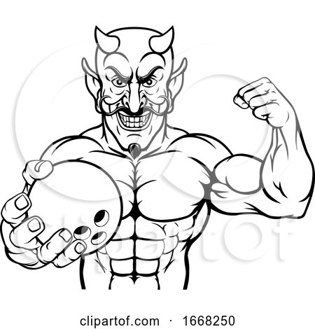 Devil Bowling Sports Mascot Holding Ball by AtStockIllustration