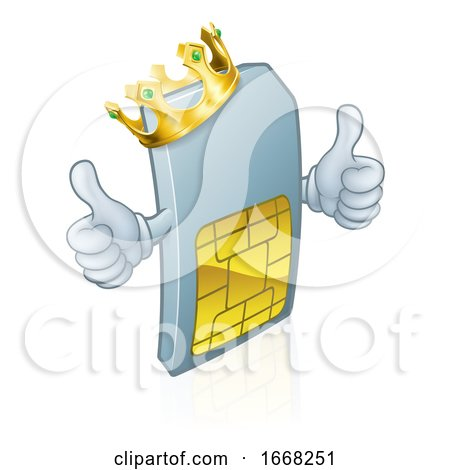 Sim Card Mobile Phone King Cartoon Mascot by AtStockIllustration