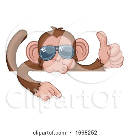 Monkey Sunglasses Thumbs up Pointing Sign Cartoon by AtStockIllustration