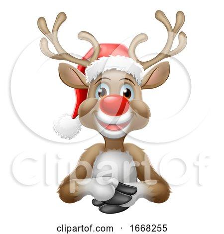 Reindeer in Christmas Santa Hat Cartoon by AtStockIllustration