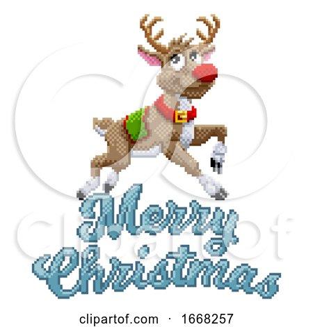 Santa Claus Reindeer Merry Christmas Pixel Art by AtStockIllustration