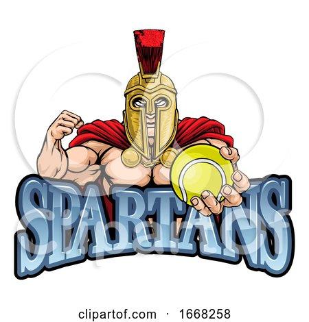 Spartan Trojan Tennis Sports Mascot by AtStockIllustration