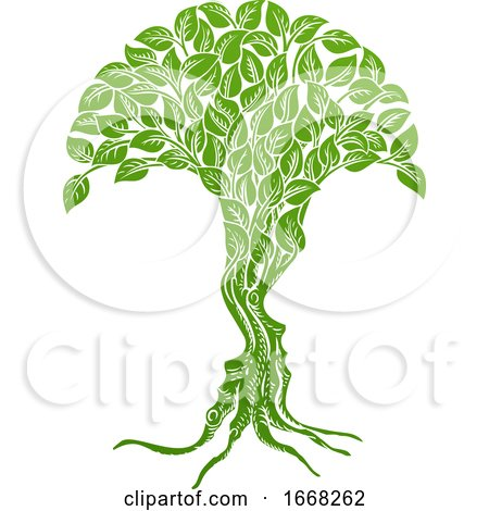 Optical Illusion Tree Faces Concept by AtStockIllustration