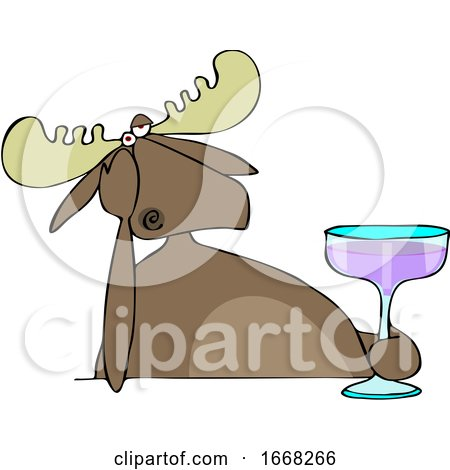 Depressed Moose Holding a Cocktail by djart
