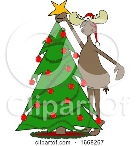 Moose Decorating a Christmas Tree by djart