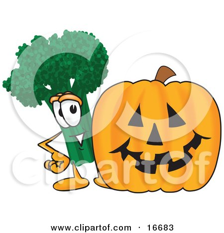 Clipart Picture of a Green Broccoli Food Mascot Cartoon Character Standing by a Halloween Pumpkin by Toons4Biz