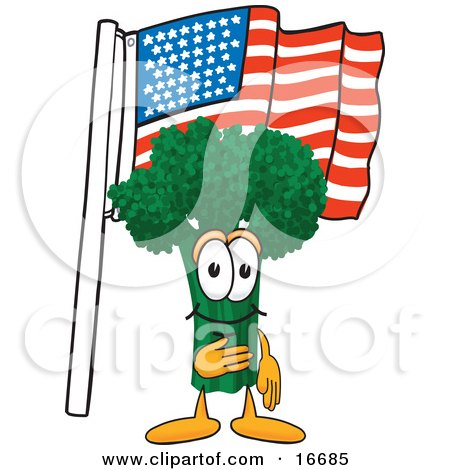 Clipart Picture of a Green Broccoli Food Mascot Cartoon Character Pledging Allegiance to the American Flag by Toons4Biz