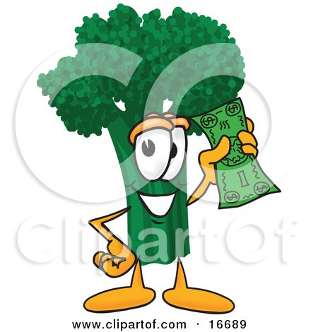 Clipart Picture of a Green Broccoli Food Mascot Cartoon Character Holding a Banknote by Toons4Biz