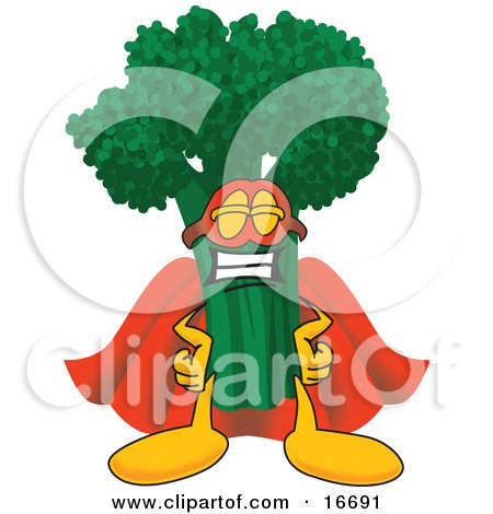 Clipart Picture of a Green Broccoli Food Mascot Cartoon Character Wearing a Super Hero Costume by Toons4Biz