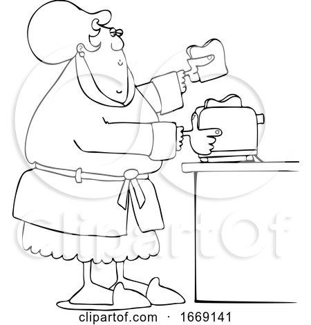Cartoon Lineart Lady Making Toast by djart