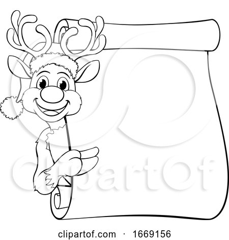 Christmas Santas Reindeer Cartoon Character by AtStockIllustration