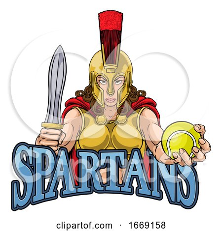 Spartan Trojan Gladiator Tennis Warrior Woman by AtStockIllustration