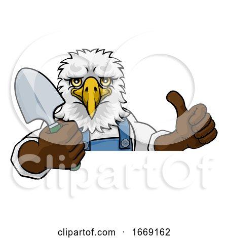 Eagle Gardener Gardening Animal Mascot by AtStockIllustration