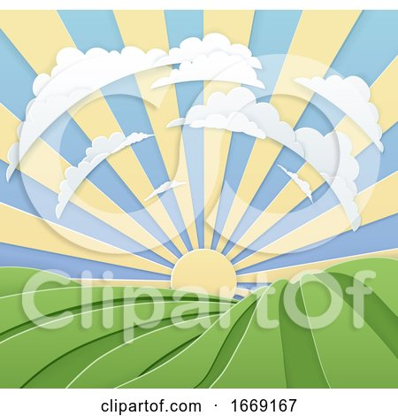 Field Rolling Hills Sunrise Sky Paper Craft Style Posters, Art Prints