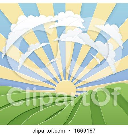 Field Rolling Hills Sunrise Sky Paper Craft Style by AtStockIllustration