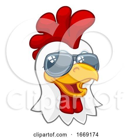 Chicken Rooster Cockerel Bird Sunglasses Cartoon by AtStockIllustration