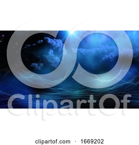 3D Digital Landscape on Fictional Space Sky Background by KJ Pargeter