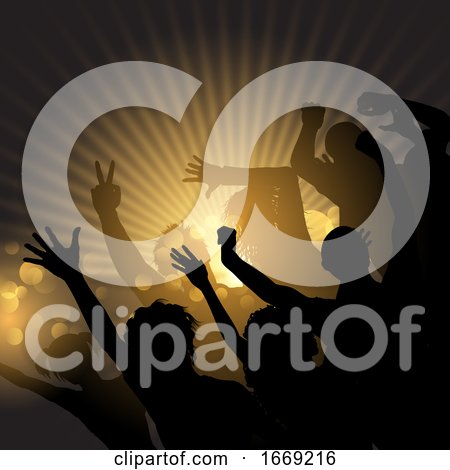 Party Crowd on a Starburst Background by KJ Pargeter