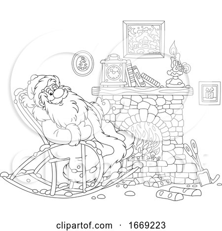 Santa Relaxing in a Rocking Chair by a Fire by Alex Bannykh