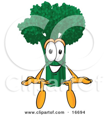 Clipart Picture of a Green Broccoli Food Mascot Cartoon Character Sitting by Toons4Biz