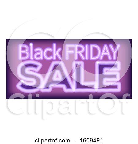 Black Friday Sale Purple Neon Sign by AtStockIllustration