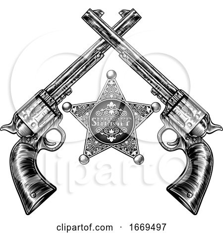Crossed Pistols and Sheriff Star Badge by AtStockIllustration