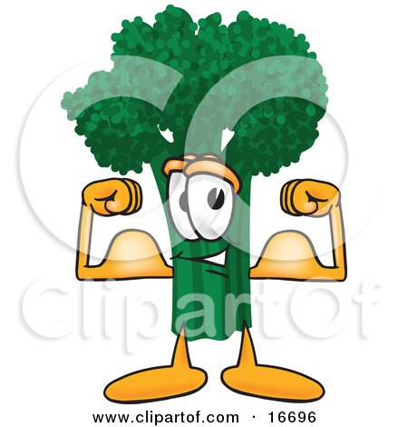 Clipart Picture of a Green Broccoli Food Mascot Cartoon Character Flexing His Arm Muscles by Toons4Biz
