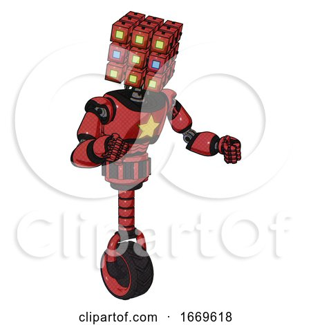 Android Containing Dual Retro Camera Head and Cube Array Head and Light Chest Exoshielding and Yellow Star and Unicycle Wheel. Primary Red Halftone. Fight or Defense Pose.. by Leo Blanchette